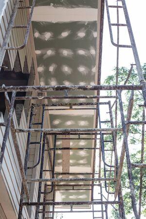 Scaffolding in modern house bulding outdoor, Renovate industry Zdjęcie Seryjne