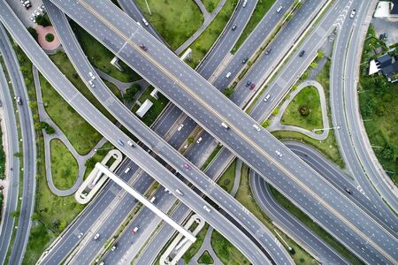City junction traffic road green nature grass aerial view transport