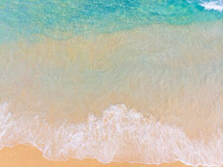 Aerial view summer sea beach wave white sand copy space vacation seascape
