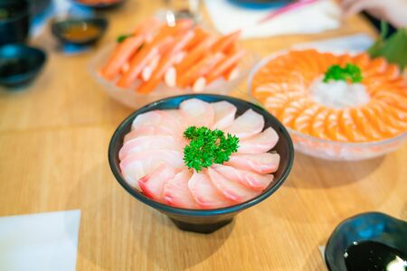 sashimi in bowl on ice with appetizer japanese food Stok Fotoğraf