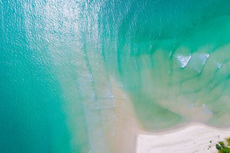 Tropical sea island white sand beach turquoise water aerial view Koh Kood Thailand