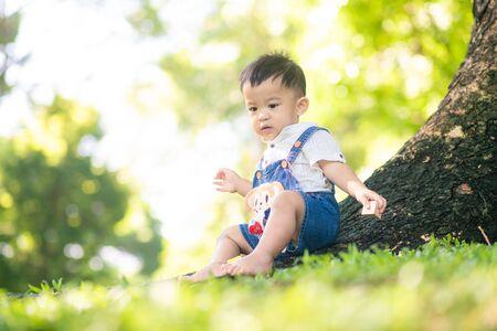 Happy little boy playin on green grass in city public park under tree sun light with bokeh blurred