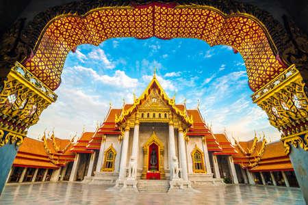Marble buddhist Bangkok Wat Benchamabophit temple evening sunset sky with cloud, Thailand