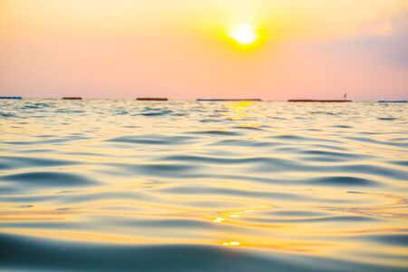 Abstract blurred sea wave bach sunset warm light new hope concept Reklamní fotografie