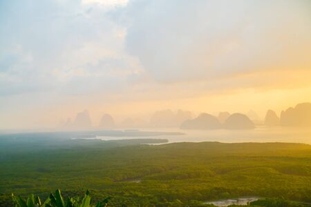 Mountain sunrise on mangrove forest sea bay sky cloud sightseeing travel in Phangnga Thailand