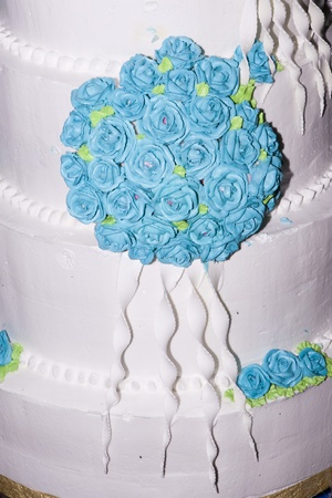 wedding cake and bouquets on table  Stock Photo