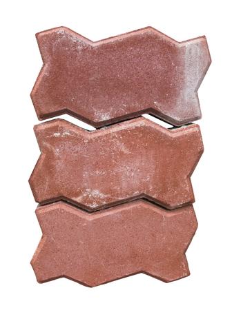 pitting: red brick isolated on white background