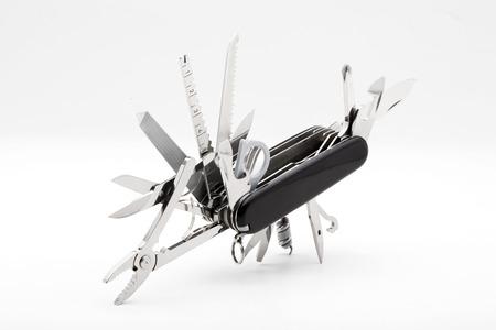 Knife multi-tool, isolated on white background Standard-Bild