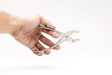 locking: Old locking pliers isolated on white background,rust locking pliers isolated