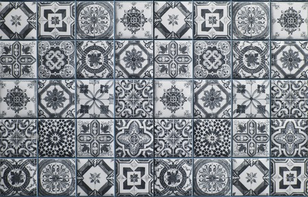 mosaic floor: ceramic tiles patterns from Portugal.