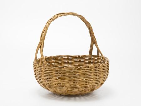 Empty wicker basket isolated on white Archivio Fotografico