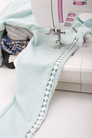 sewing tools: Background with sewing tools and colored fabric
