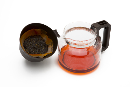 trivet: Cup of tea with a teapot on a white background.