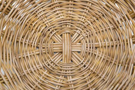 Empty wicker basket isolated on white Stock Photo