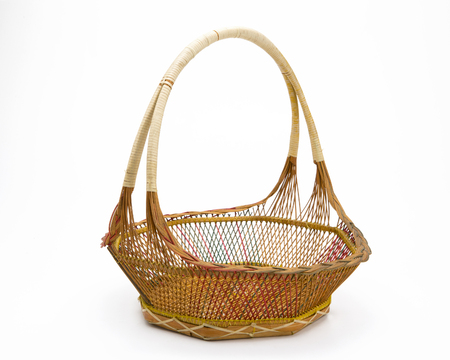 wicker basket: Empty wicker basket isolated on white Stock Photo