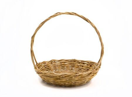 wicker: Empty wicker basket isolated on white Stock Photo
