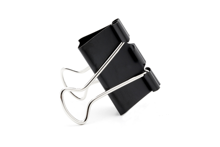 foldback: Black Paper clip isolated on white background.