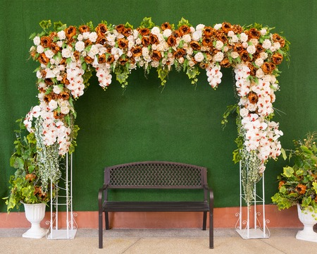 christian marriage: Beautiful flower wedding decoration Stock Photo