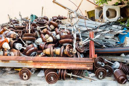 insulator: Pile of used electrical insulator