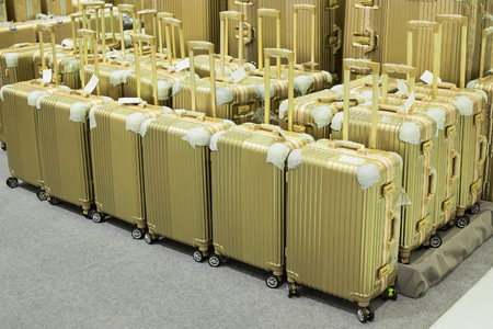 polycarbonate: Luggage consisting of polycarbonate suitcases Stock Photo