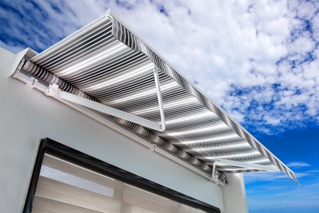 Canvas awning with a sky background Stock Photo - 82316909