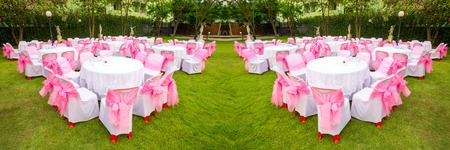 furniture design: Banquet table at the lawn. Stock Photo