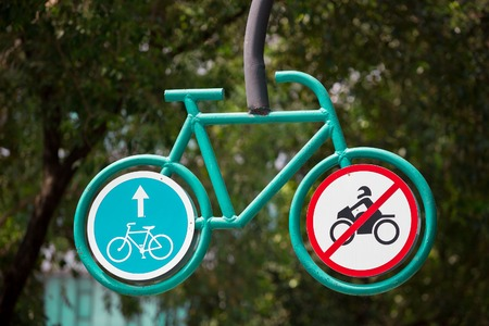 one lane road sign: Bicycle Traffic Sign Stock Photo