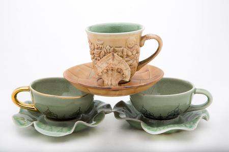 Thai Ceramic-Benjarong on white background
