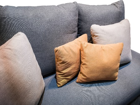 Multi-colored pillows on the sofa.