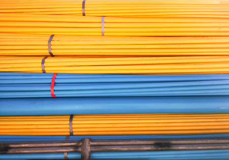 Blue and Yellow PVC Pipes