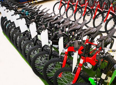 the Bicycles for sale in department stores 写真素材 - 127030115