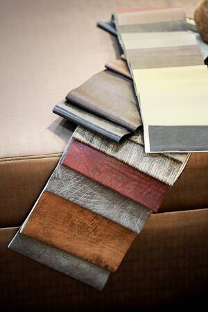 Example of PU artificial leather strips boards 写真素材 - 127031140