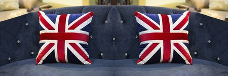 The American flag pillows on the sofa 写真素材 - 127031177
