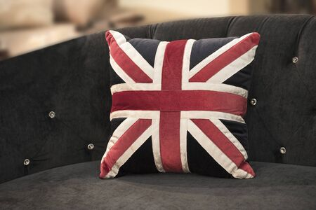 The American flag pillows on the sofa 写真素材 - 127031189