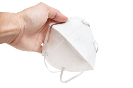 White anti-virus mask in white background
