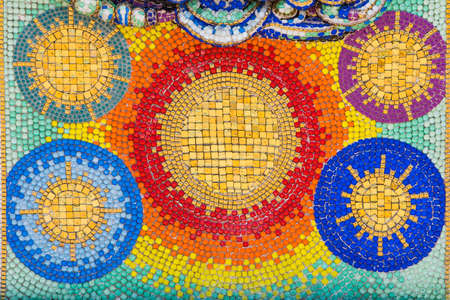 Beautifully decorated colored tiles in a Thai temple