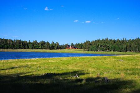 Mountain landscape, lake and mountain range, large panorama, New Mexico 版權商用圖片