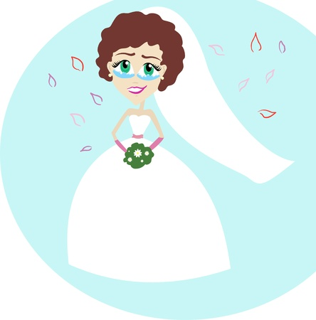 Beautiful bride is crying from happiness Stock Vector - 17308847