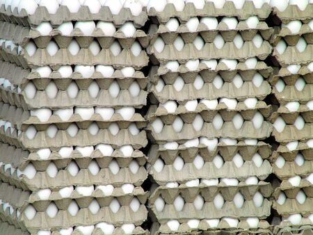 on the skids: Huge amount of eggs for sale at a market.