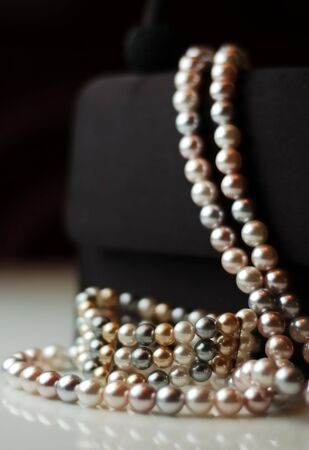 dressy: Pearl Bracelet and Necklace on Purse Stock Photo
