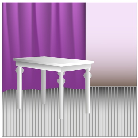 stylistic: White stylistic table in room with drapery
