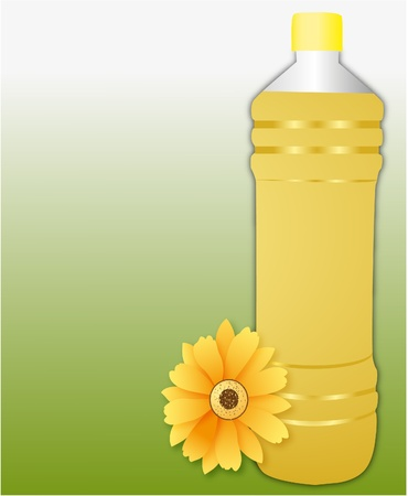 huile de tournesol bouteille en plastique sur fond vert