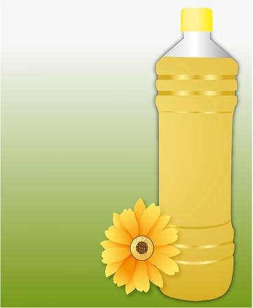 plastic fles zonnebloemolie op groene achtergrond