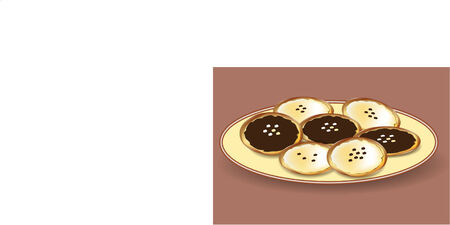 cheese cake: small yeast cake with cottage cheese and jam Illustration