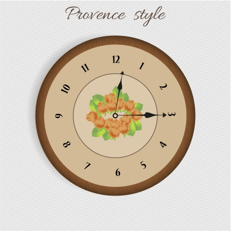 provence: vintage brown clock style provence with flower