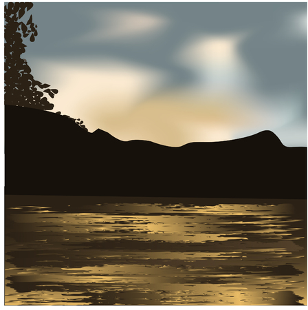 Night scenery - lake  and trees at night Illustration