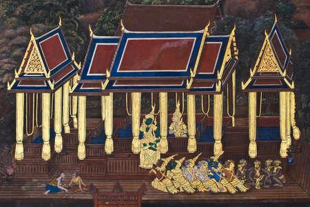 Public Art Painting at Wat Phra Kaew Editorial