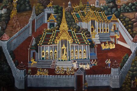 Public Art Painting at Wat Phra Kaew Editorial