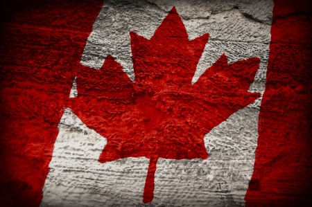 Canadian flag painted Grunge