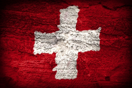 Swiss flag painted Grunge Stock Photo